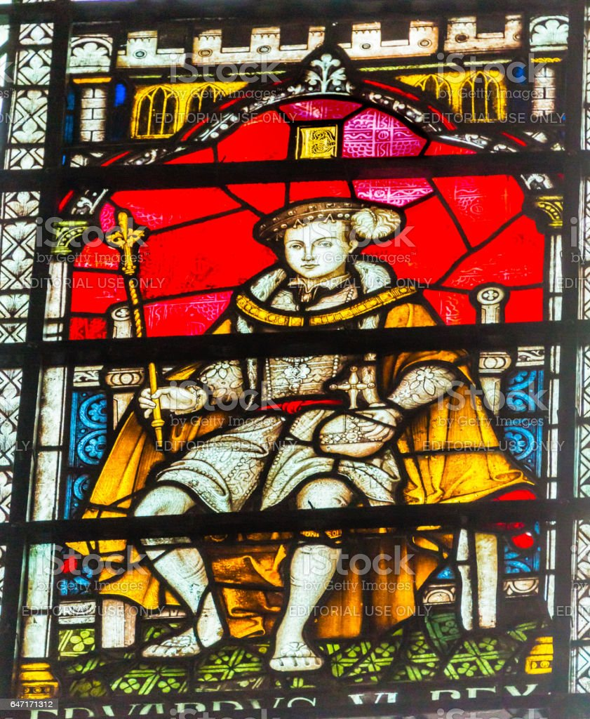 King Edward Vi Stained Glass Chapter House Westminster Abbey London England stock photo
