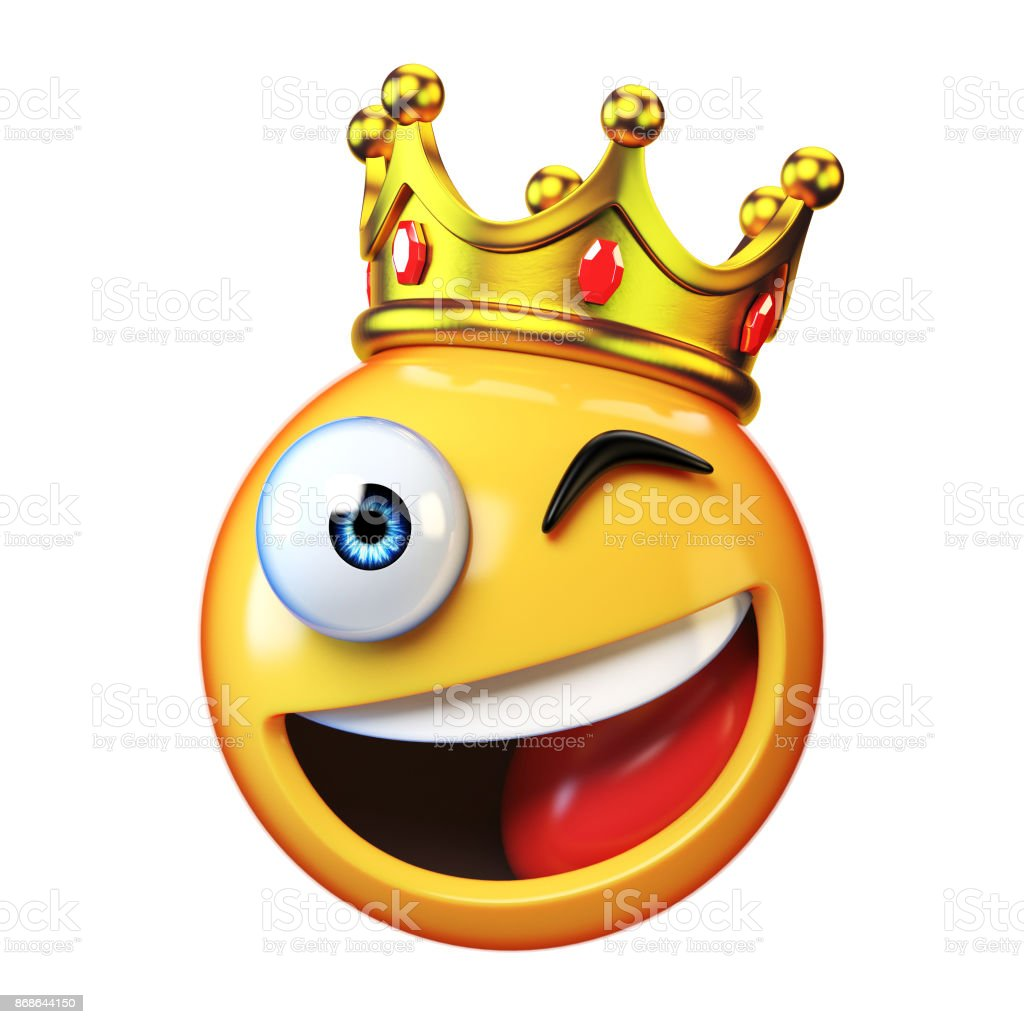 king emoji isolated on white background emoticon wearing crown 3d picture id868644150