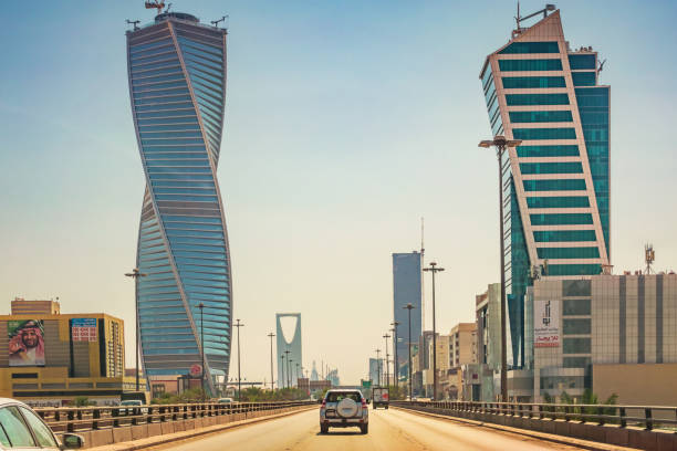 King Fahd Road and skyscrapers in Riyadh Saudi Arabia stock photo
