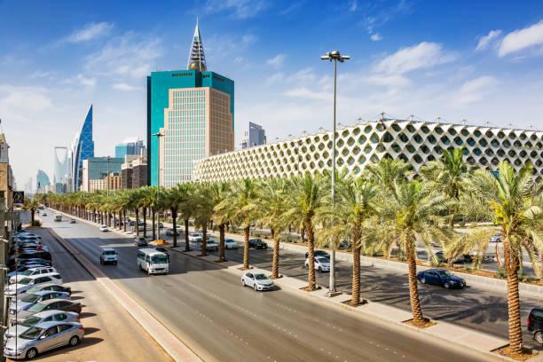 King Fahd Road in downtown Riyadh Saudi Arabia National Library stock photo