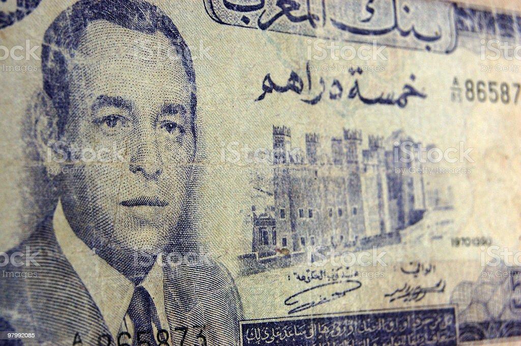 King Farouk antique banknote, Morocco royalty-free stock photo