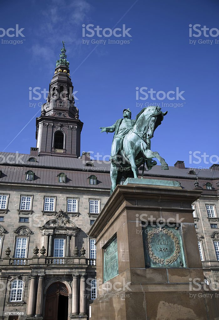 King Frederik 7 in front of the Danish Parliament stock photo