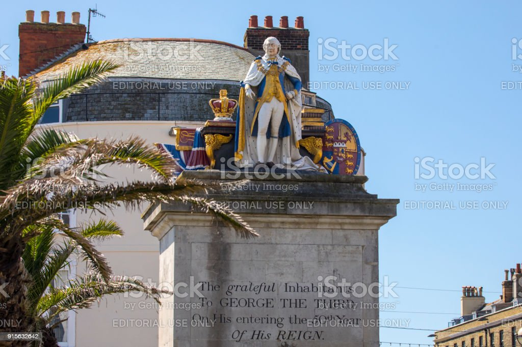 King George III Statue in Weymouth, UK stock photo