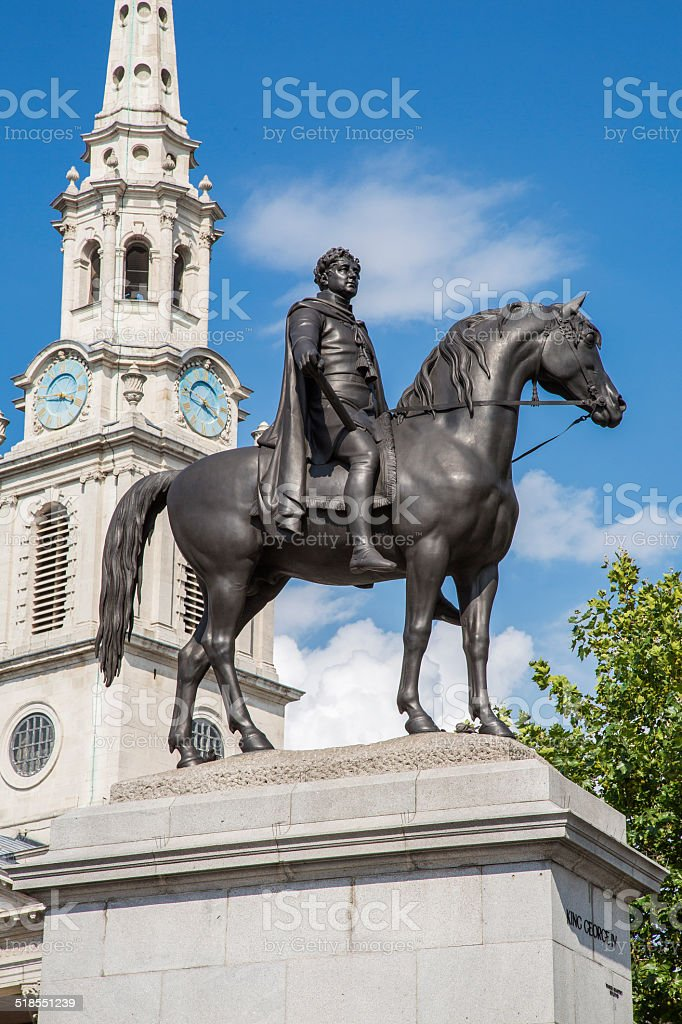 King George IV in Trafalager Square stock photo