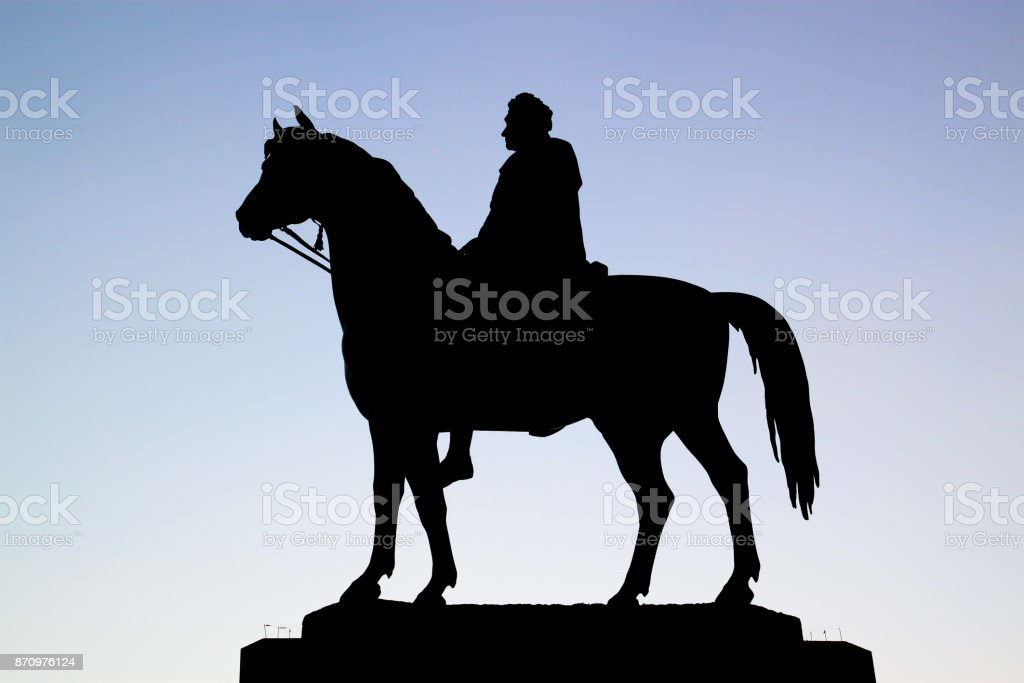 King George IV statue in silhouette stock photo