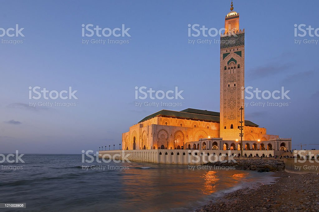 King Hassan II Mosque Casablanca at dusk royalty-free stock photo