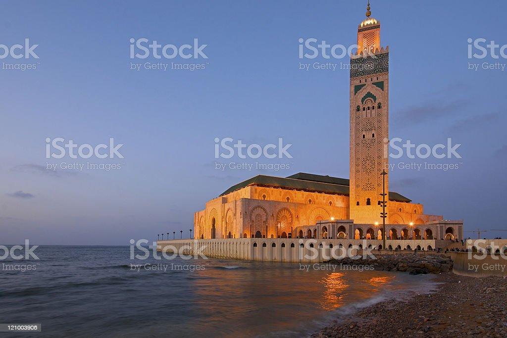King Hassan II Mosque Casablanca at dusk stock photo