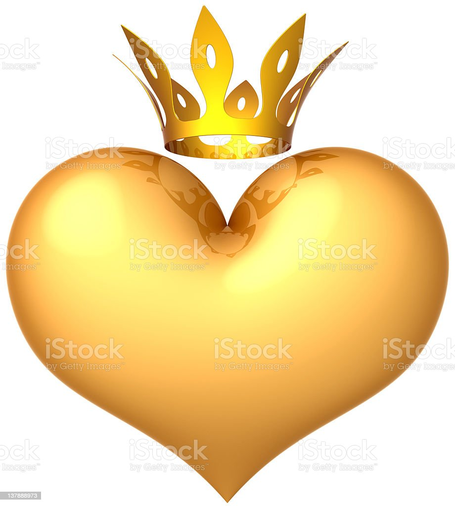 King heart crowned Royal Love golden icon concept royalty-free stock photo