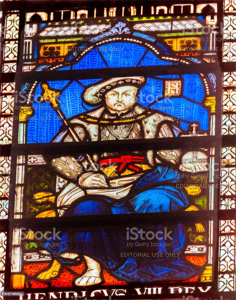 King Henry VIII Stained Glass Chapter House Westminster Abbey London England stock photo