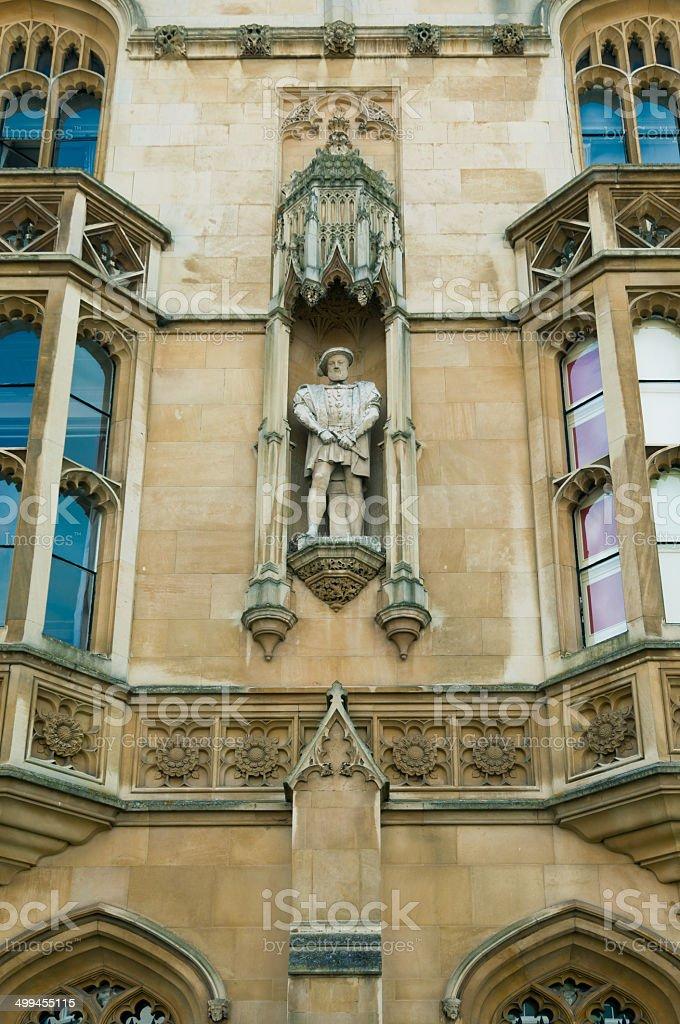 King Henry VIII statue, King's College, Cambridge stock photo