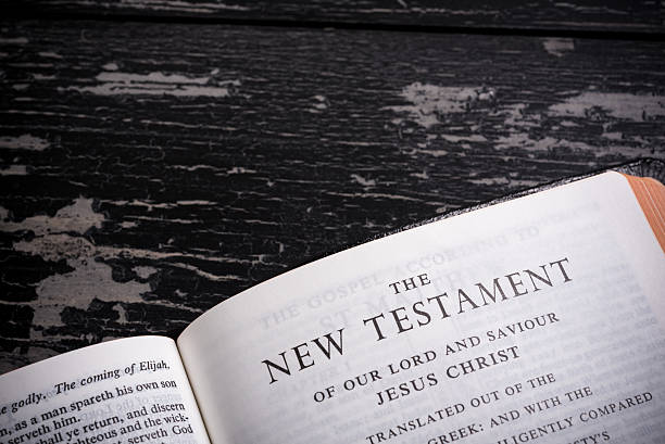 King James BIble open to the the New Testament stock photo