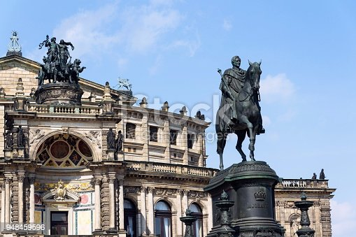 King Johann horse rider statue, John of Saxony Monument in front of opera house Semperoper concert hall in Dresden, Germany