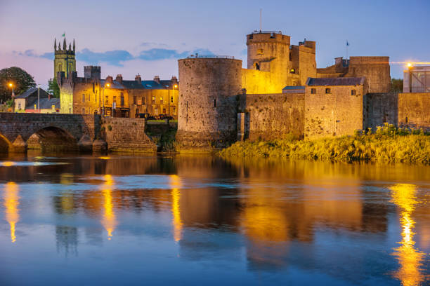 King John's Castle and River Shannon in Limerick Ireland stock photo