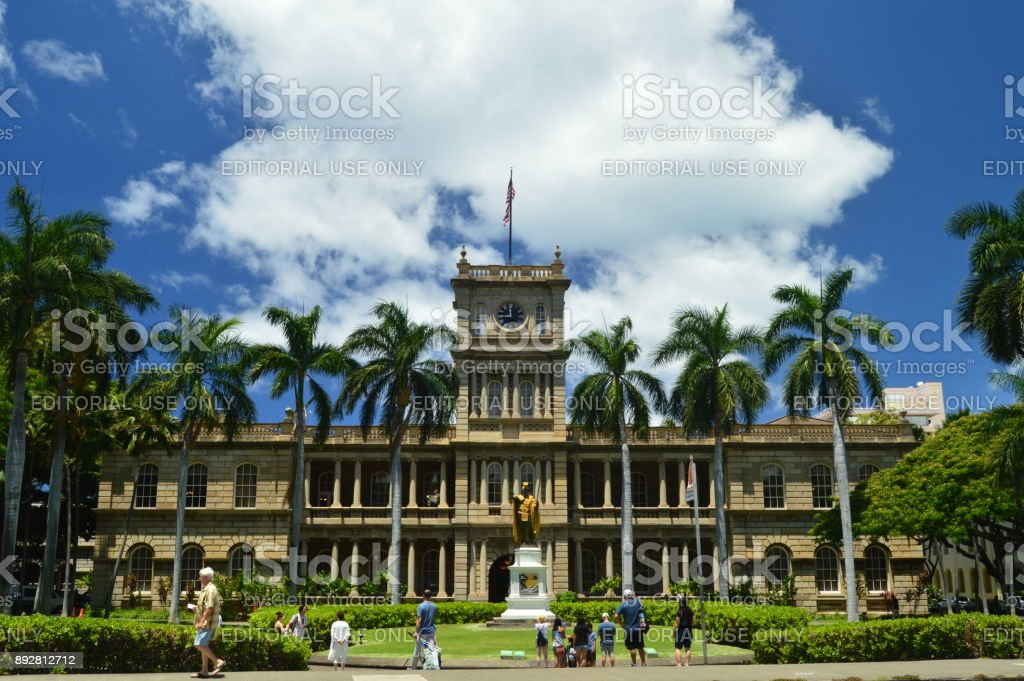King Kamehameha Statue I In Aliiolani Hale. Seat of the Supreme Court of the State of Hawaii. stock photo