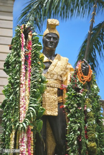 The Kamehameha Statue stands prominently in front of the Hawaii State Supreme Court Building in Honolulu.  It is a PUBLIC LANDMARK. The  statue is considered one of the most visited landmarks of Honolulu. The Statue of King Kamehameha is decorated with flower garlands for King Kamehameha Day annual celebration.