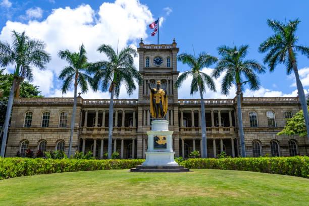King Kamehameha The Great Statue at Aliʻiolani Hale Honolulu, Oahu, Hawaii stock photo