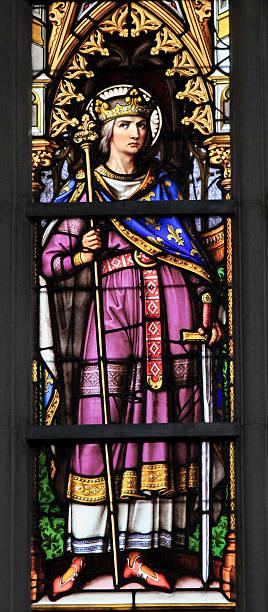 king louis ix, saint louis - stained glass - st louis стоковые фото и изображения