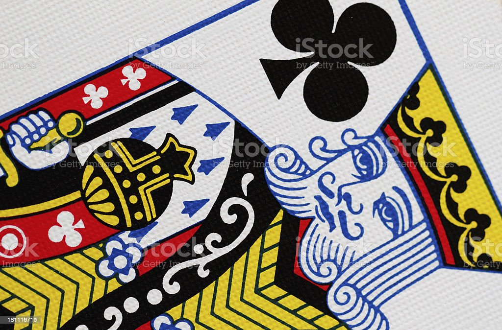 King Of Clubs Playing Card Close Up stock photo
