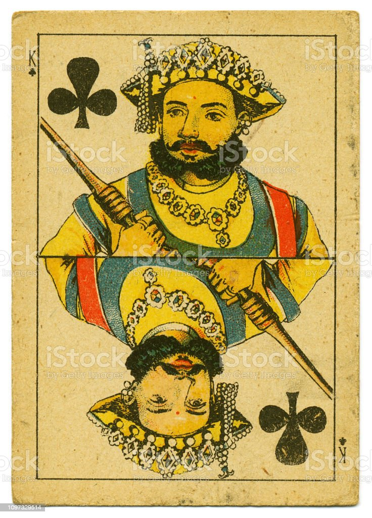 King of Clubs rare playing card from Hindu pack 19th century stock photo