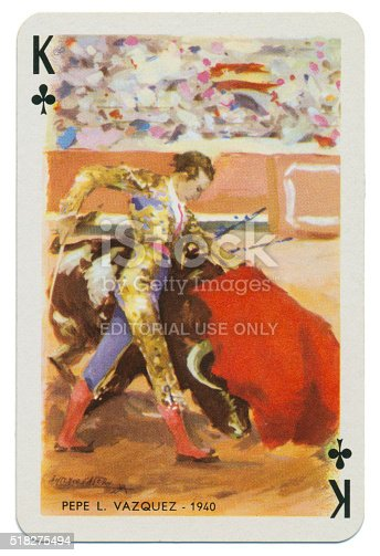 King of Clubs Spanish playing card from the Baraja Taurina manufactured by Heraclio Fournier of Vitoria (near Bilbao) in Spain in 1965, glorifying Spanish bullfighters. The artist is Antonio Casero. The King of Clubs features Pepe L. Vazquez, a bullfighter of 1940. These cards are in new condition, with an accompanying leaflet. The four of clubs bears the legend 'Timbre sobre naipes', which translates to 'Stamp duty on cards'. Each card bears the name of the illustrated bullfighter along with an associated date.
