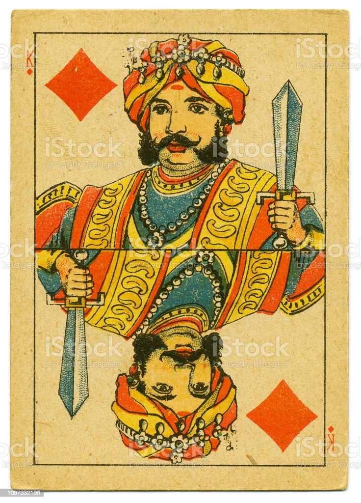 King of Diamonds rare playing card from Hindu pack 19th century stock photo