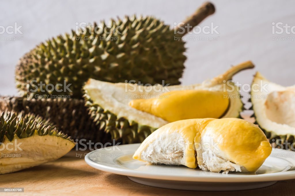 King of Fruits, Durian is a popular tropical fruit in asian countries. zbiór zdjęć royalty-free