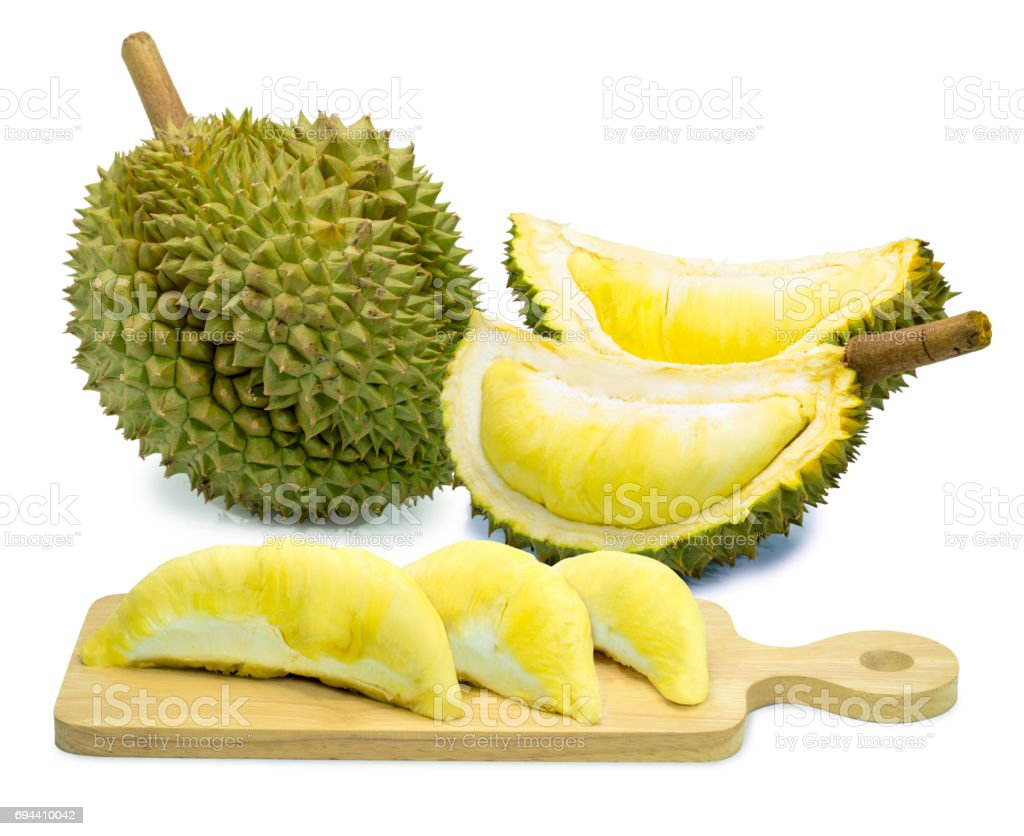 King of fruits, durian isolated on white background, Golden pillow or Mon Thong Durian. stock photo