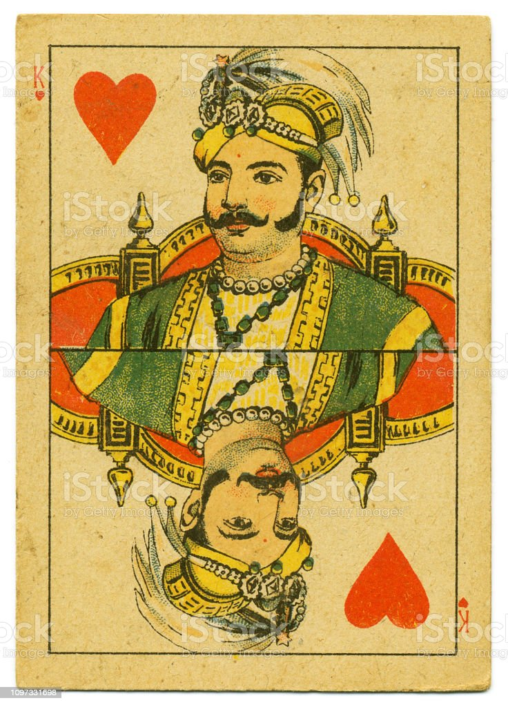 King of Hearts rare playing card from Hindu pack 19th century stock photo