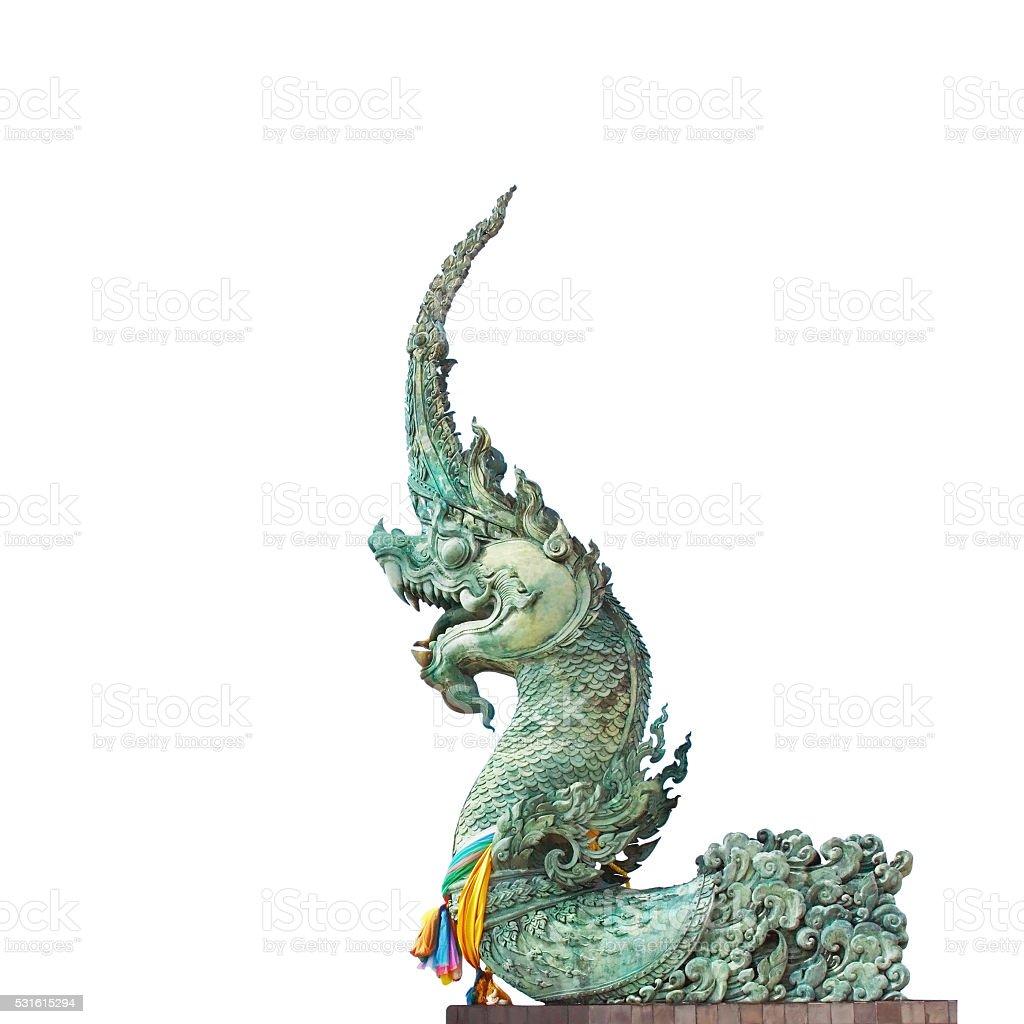King of naga statue isolated stock photo