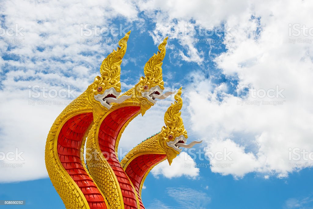 King of naga statue (Three heads golden) stock photo