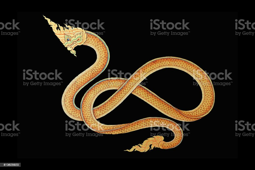 King of Naga, Thai Dragon, Image on wall of temple in thailand isolated on black background. stock photo