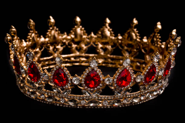 a king or queen's golden crown - diadem stock pictures, royalty-free photos & images