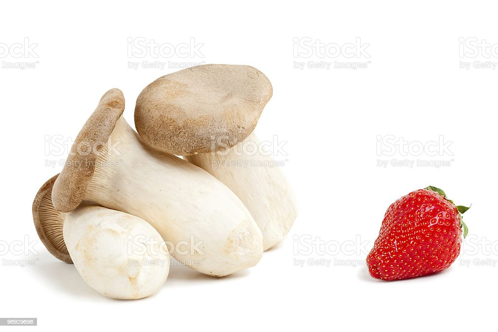 King oyster mushrooms with strawberry royalty-free stock photo