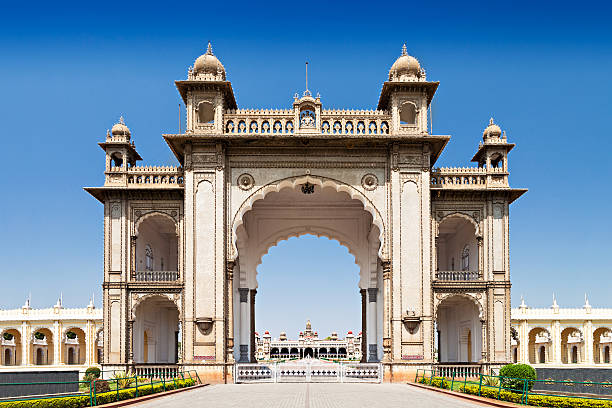 King Palace Amba Vilas Mysore Palace in Mysore, India bangalore stock pictures, royalty-free photos & images
