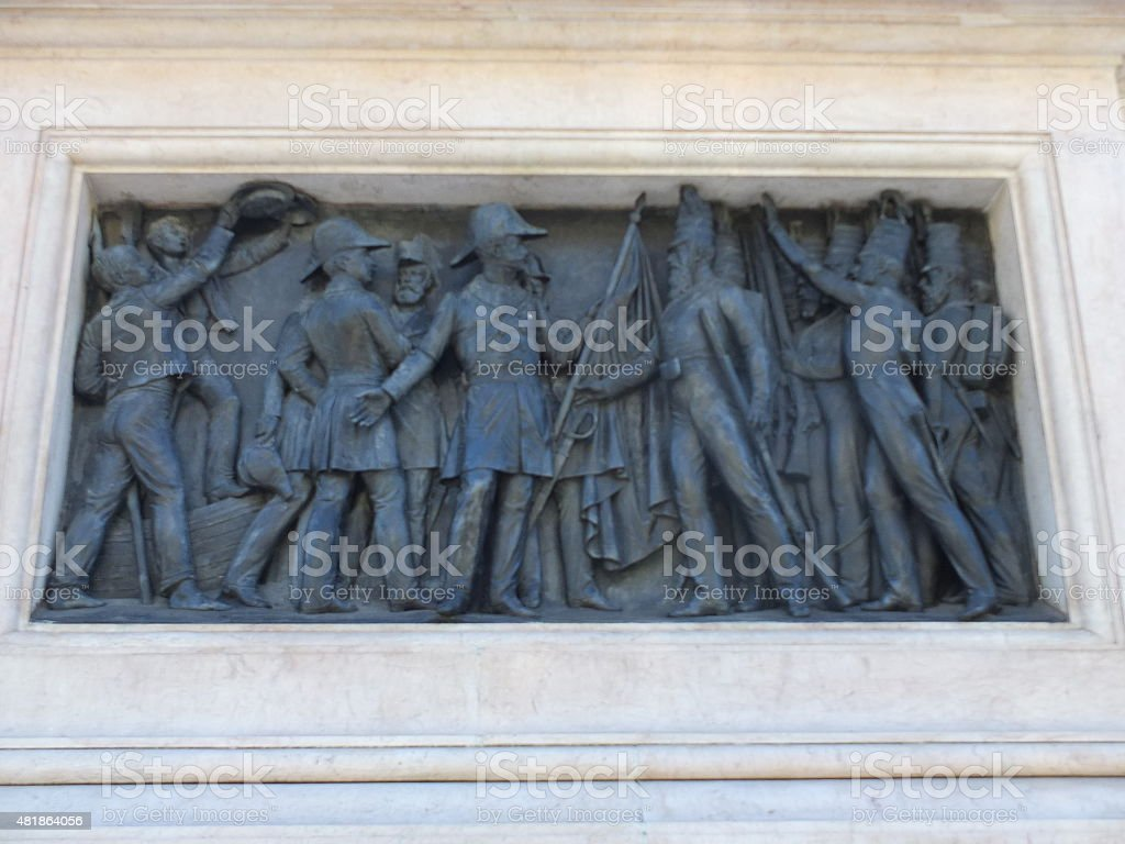 King Peter IV Statue Side Panel stock photo