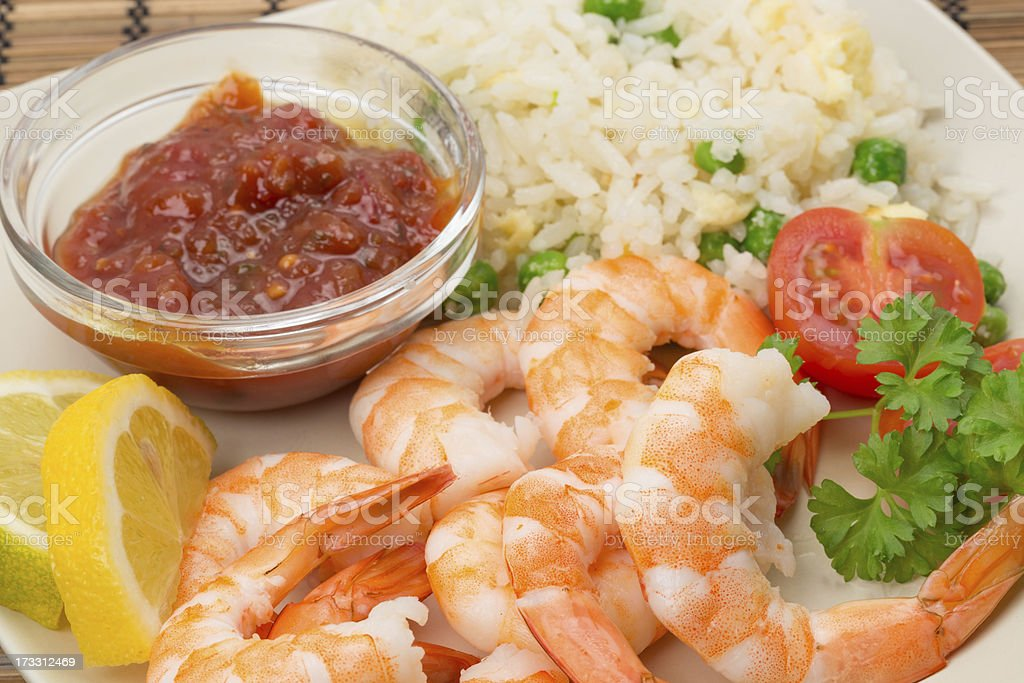King prawn with an egg and fried rice stock photo