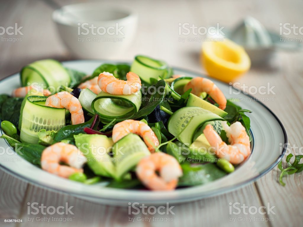 king prawn,cucumber and avocado salad stock photo