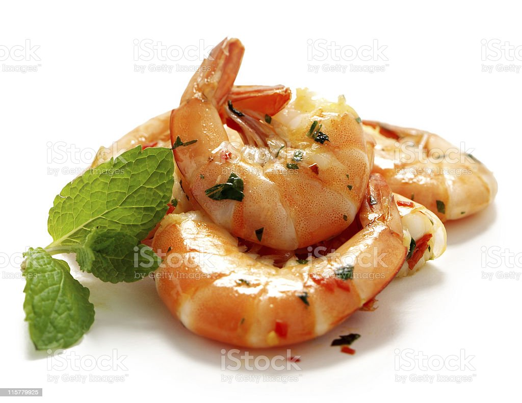 King Prawns, Stirfrying stock photo