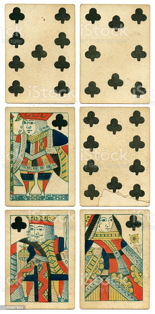 King Queen Jack of clubs 19th century 1850 stock photo