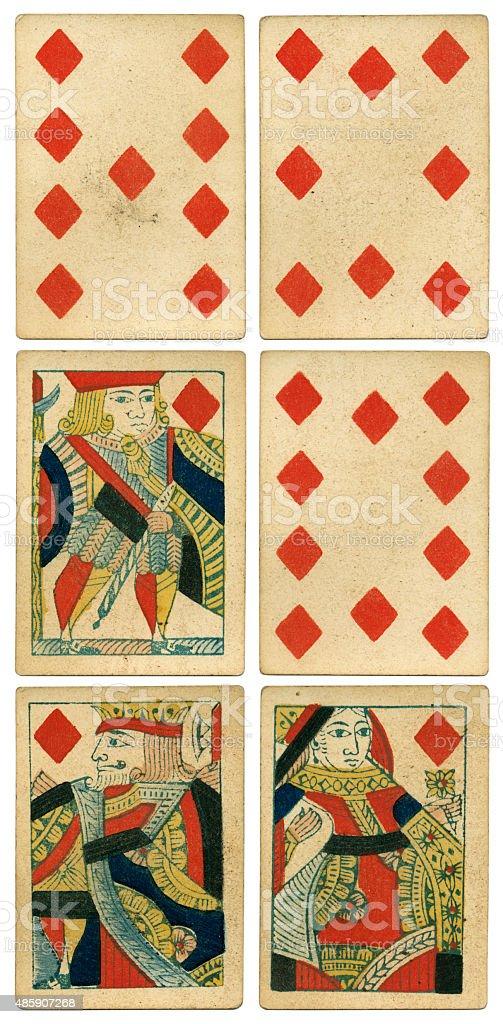 King Queen Jack of diamonds 19th century 1850 stock photo