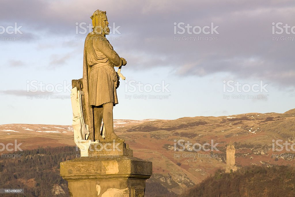 King Robert the Bruce of Scotland Statue at Stirling Castle. stock photo