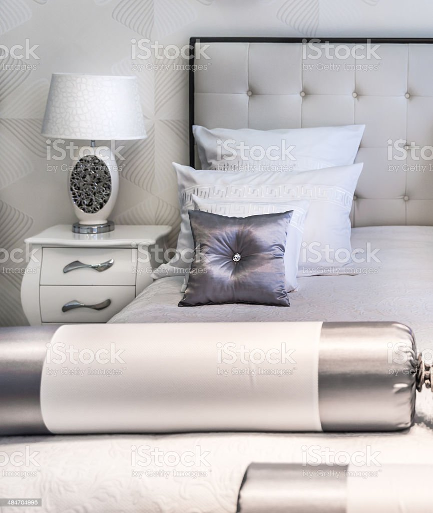 King sized bed stock photo