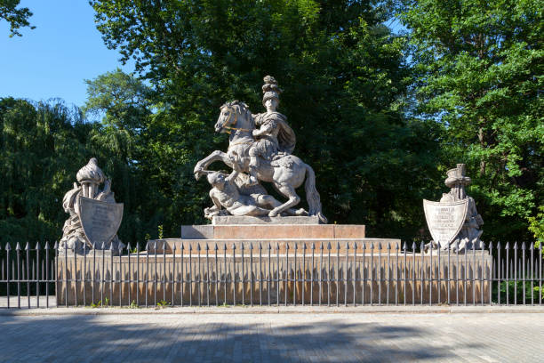 King Sobieski Monument in Warsaw stock photo