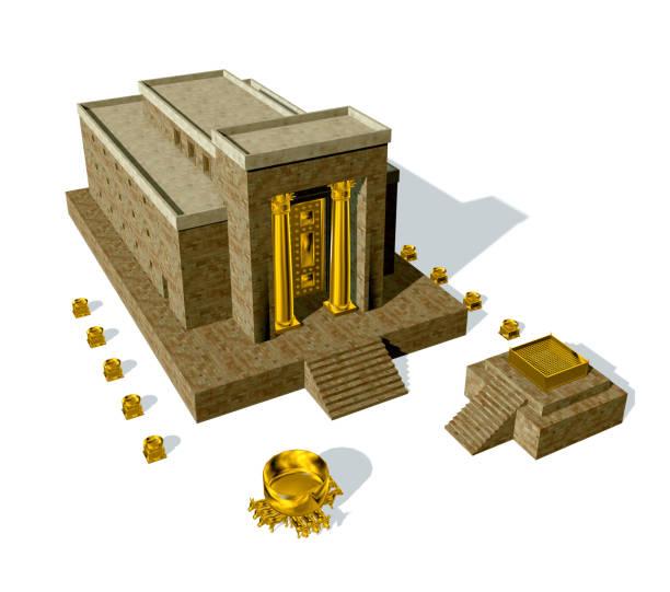 könig solomon tempel isoliert auf weißem hintergrund - engelportal stock-fotos und bilder