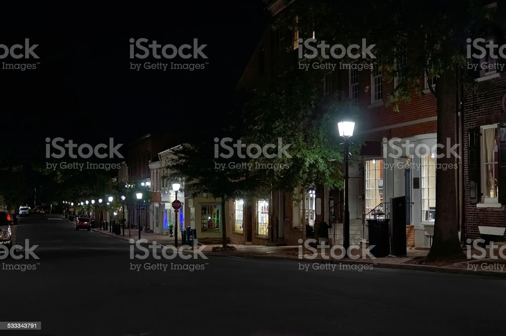 King Street Old Town Alexandria At Night stock photo