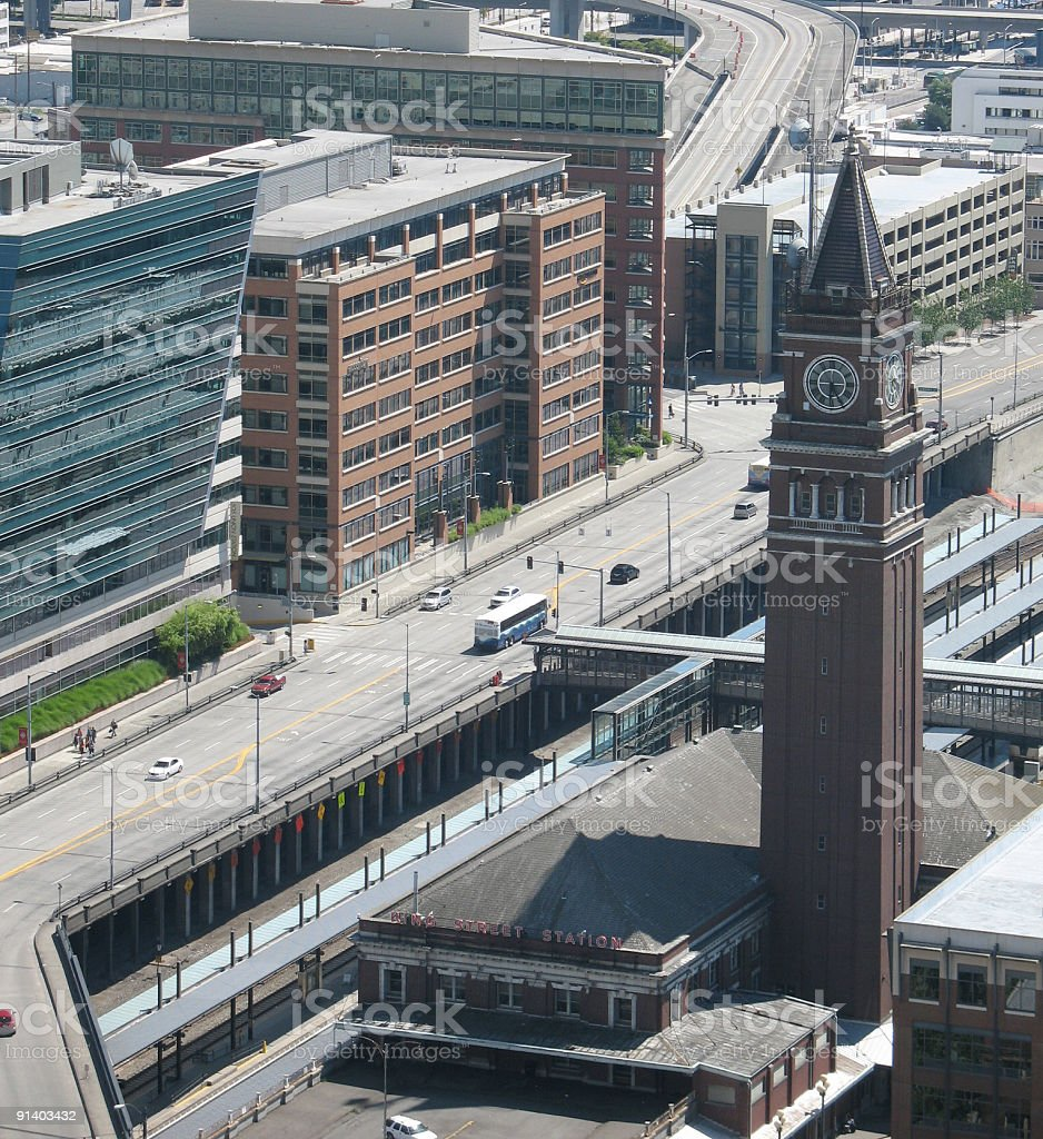 King Street Station and surrounds stock photo