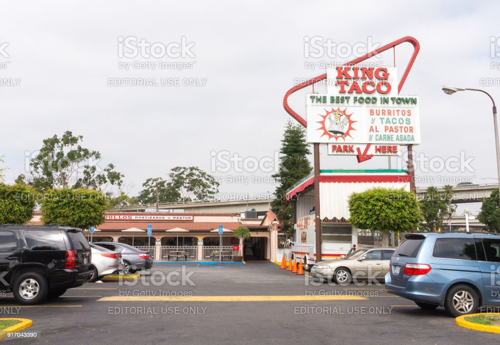 King Taco on 3rd Street in East Los Angeles. King Taco is a fast food restaurant chain serving Mexican dishes. stock photo