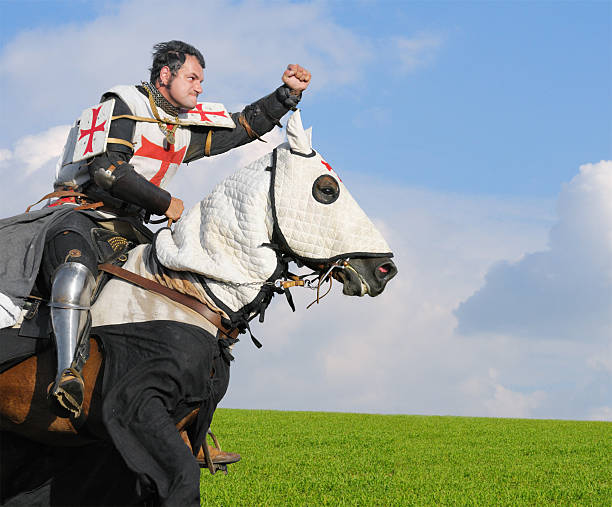 king templar - knight on horse stock photos and pictures