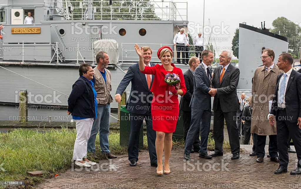 King Willem Alexander and Queen maxima leaving the minesweeper royalty-free stock photo