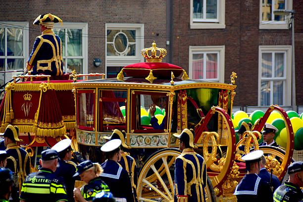 king willem-alexander and queen maxima on prinsjesdag - feiertage holland 2016 stock-fotos und bilder
